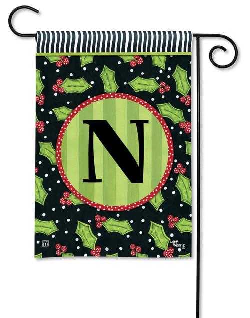 """Holly Leaves Monogram Garden Flag Letter N - 12.5"""" x 18"""""""