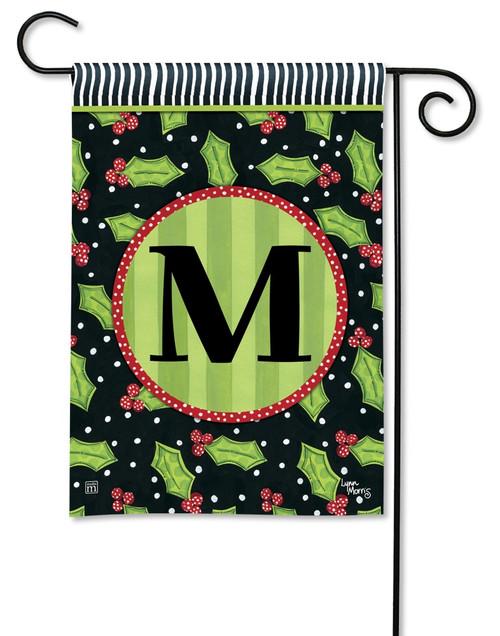 """Holly Leaves Monogram Garden Flag Letter M - 12.5"""" x 18"""""""