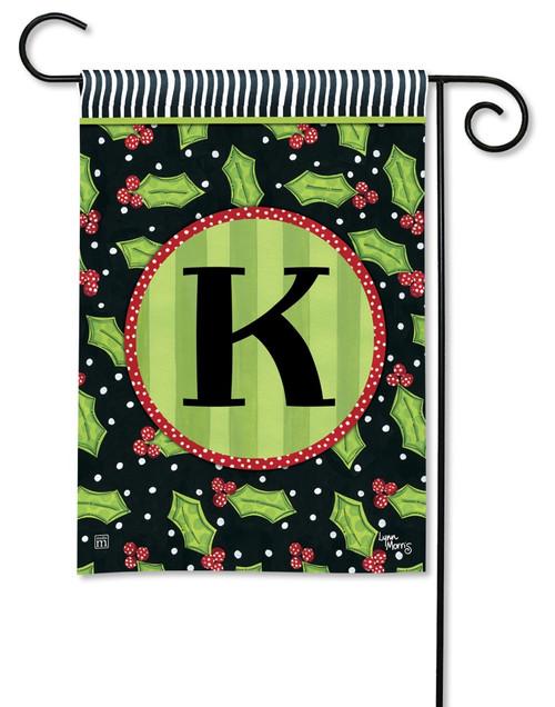 """Holly Leaves Monogram Garden Flag Letter K - 12.5"""" x 18"""""""
