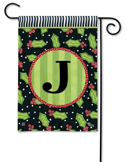 """Holly Leaves Monogram Garden Flag Letter J - 12.5"""" x 18"""""""