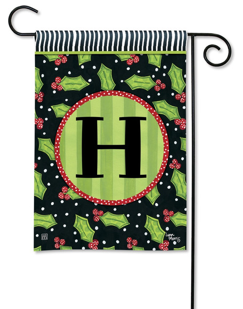 "Holly Leaves Monogram Garden Flag Letter H - 12.5"" x 18"""