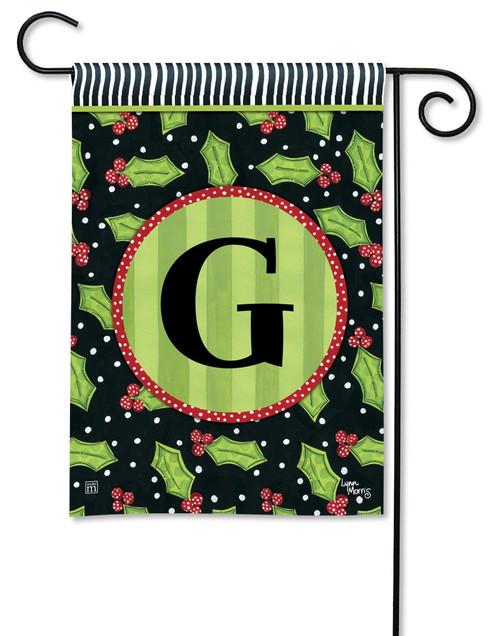 """Holly Leaves Monogram Garden Flag Letter G - 12.5"""" x 18"""""""