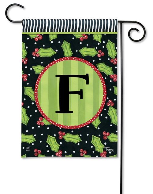 "Holly Leaves Monogram Garden Flag Letter F - 12.5"" x 18"""