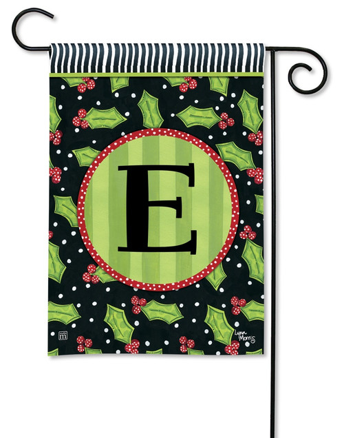 "Holly Leaves Monogram Garden Flag Letter E - 12.5"" x 18"""
