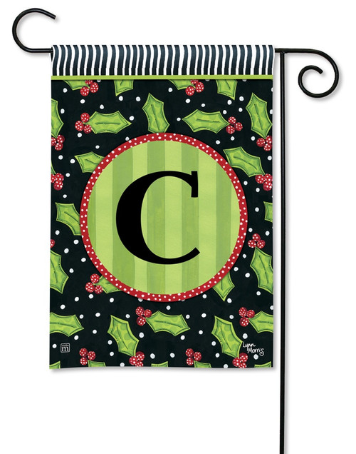"Holly Leaves Monogram Garden Flag Letter C - 12.5"" x 18"""