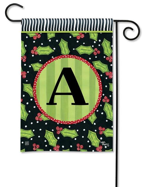"""Holly Leaves Monogram Garden Flag Letter A - 12.5"""" x 18"""""""