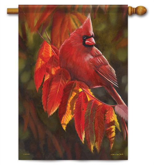 "Cardinal In Red House Flag - 28"" X 40"" - Flag Trends"