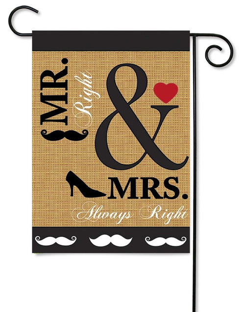 "Burlap Wedding Garden Flag - 13"" x 18"" - 2 Sided Message - Magnolia Lane"