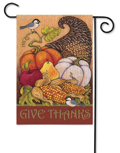 """Give Thanks Thanksgiving Garden Flag - 13"""" x 18"""" - Magnolia Lane"""