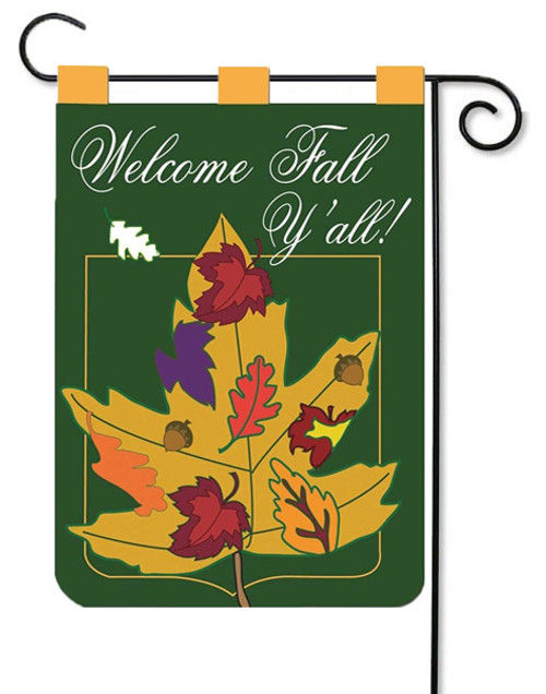 "Leaf Welcome Y'all Double Applique Garden Flag - 13"" x 18"" - 2 Sided Message - Magnolia Lane"