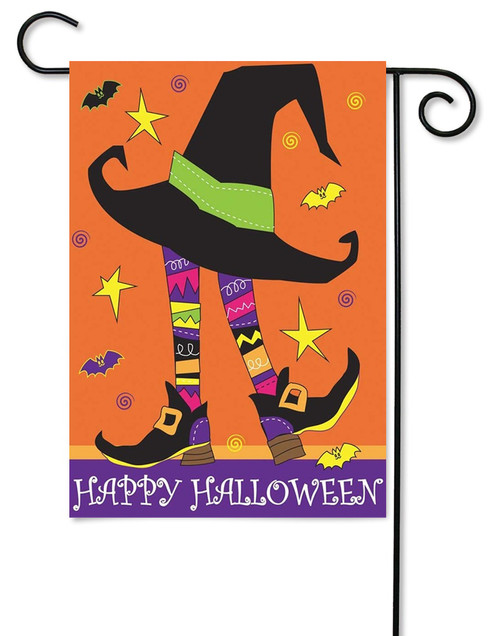 Small Witch Double Applique Halloween Garden Flag