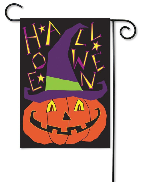 "Jack-O-Lantern Double Applique Garden Flag - 13"" x 18"" - 2 Sided Message - Magnolia Lane"