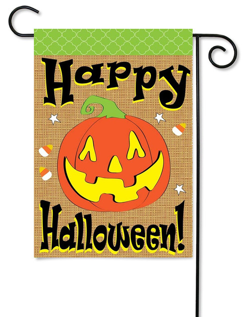 "Burlap Halloween Garden Flag - 13"" x 18"" - 2 Sided Message - Magnolia Lane"