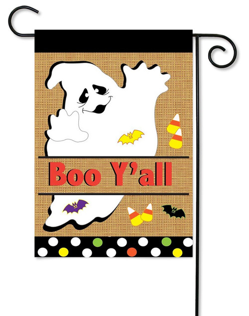 "Burlap Ghost Garden Flag - 13"" x 18"" - 2 Sided Message - Magnolia Lane"