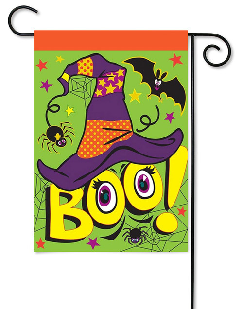 "Burlap Boo Garden Flag - 13"" x 18"" - 2 Sided Message - Magnolia Lane"