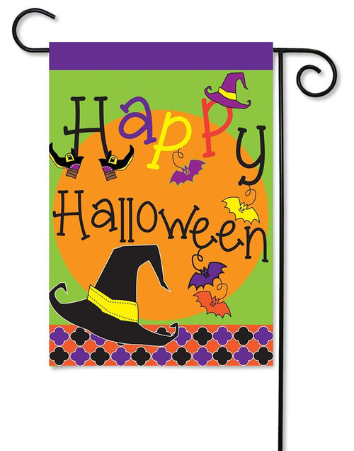 "Burlap Happy Halloween Garden Flag - 13"" x 18"" - 2 Sided Message - Magnolia Lane"