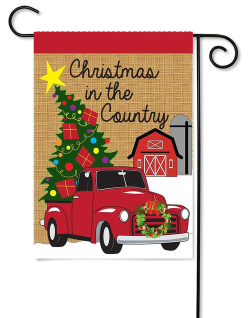 "Christmas in the Country Burlap Garden Flag - 13"" x 18"" - 2 Sided Message - Magnolia Lane"