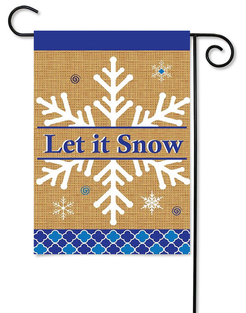"Burlap Let It Snow Garden Flag - 13"" x 18"" - 2 Sided Message - Magnolia Lane"