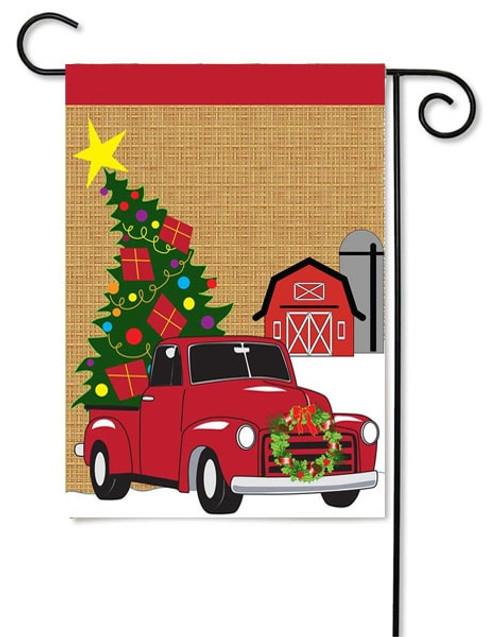 "Burlap Christmas Truck Garden Flag - 13"" x 18"" - Magnolia Lane"