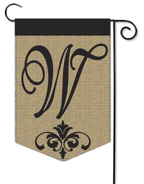 """Burlap Monogram Garden Flag Letter W - 13"""" x 18"""""""