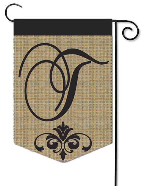 """Burlap Monogram Garden Flag Letter T - 13"""" x 18"""""""