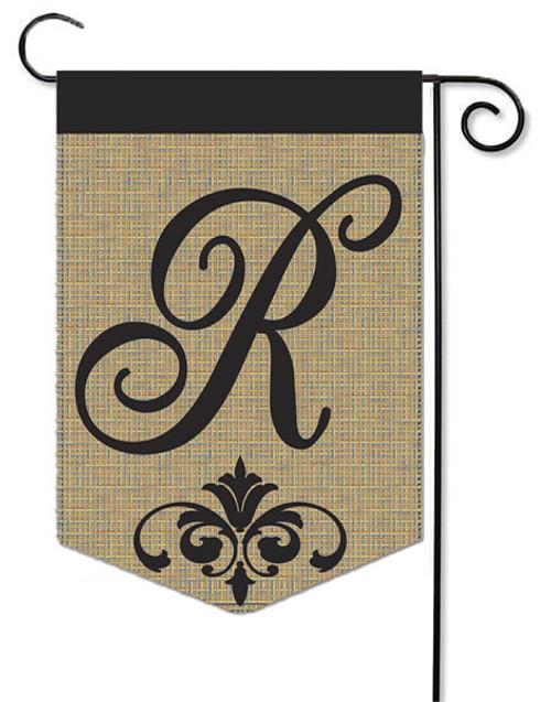 """Burlap Monogram Garden Flag Letter R - 13"""" x 18"""""""