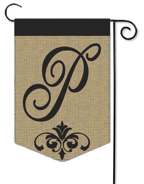 """Burlap Monogram Garden Flag Letter P - 13"""" x 18"""""""
