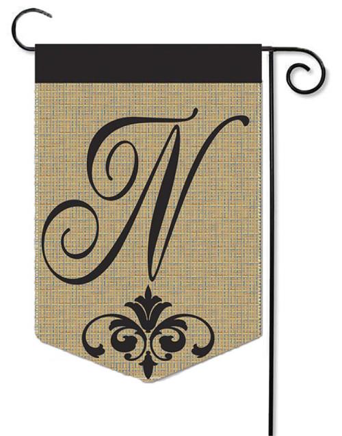 """Burlap Monogram Garden Flag Letter N - 13"""" x 18"""""""