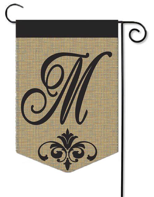 """Burlap Monogram Garden Flag Letter M - 13"""" x 18"""""""