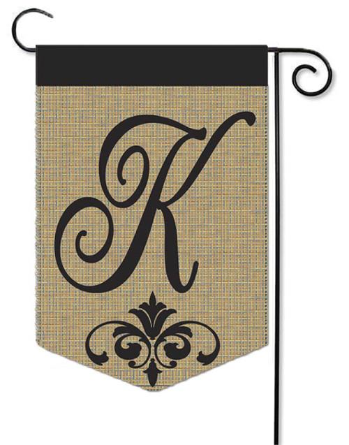 """Burlap Monogram Garden Flag Letter K - 13"""" x 18"""""""