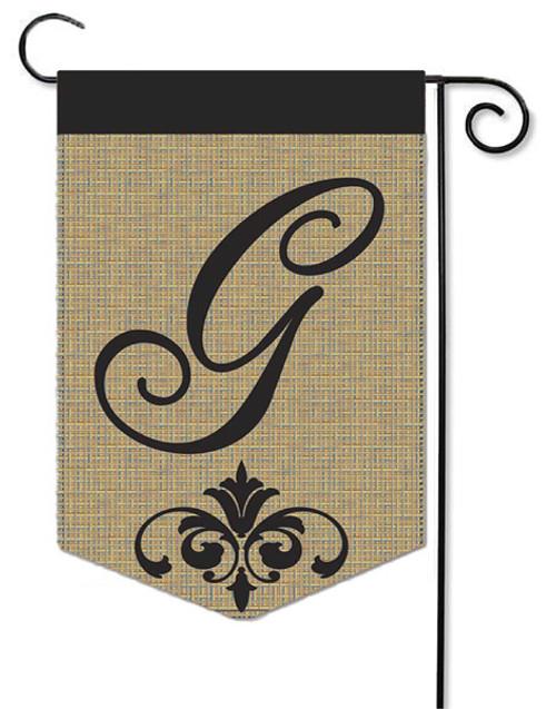 """Burlap Monogram Garden Flag Letter G - 13"""" x 18"""""""