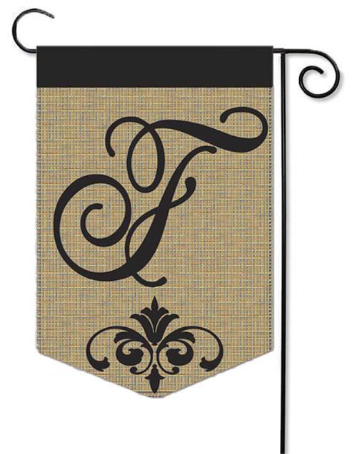 """Burlap Monogram Garden Flag Letter F - 13"""" x 18"""""""