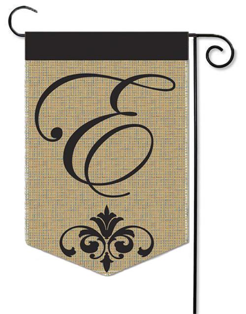 """Burlap Monogram Garden Flag Letter E - 13"""" x 18"""""""