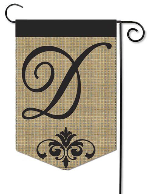 """Burlap Monogram Garden Flag Letter D - 13"""" x 18"""""""