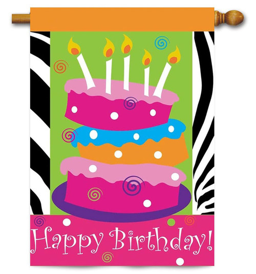 "Happy Birthday Applique House Flag - 29"" x 42"" - 2 Sided Message - Magnolia"