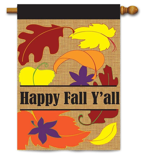 "Burlap Fall Leaves House Flag - 29"" x 42"" - 2 Sided Message - Magnolia Lane"