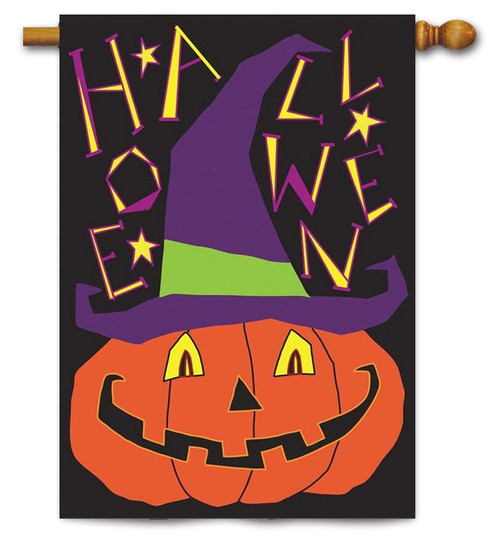"Jack-O-Lantern Double Applique House Flag - 29"" x 42"" - 2 Sided - Magnolia Lane"