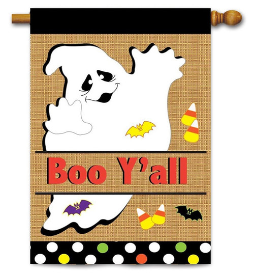 "Burlap Ghost House Flag - 29"" x 42"" - 2 Sided Message - Magnolia Lane"