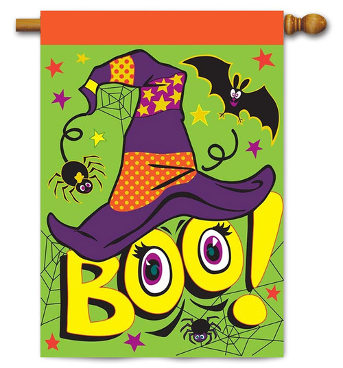 "Burlap Boo Halloween House Flag - 29"" x 42"" - 2 Sided Message - Magnolia Lane"