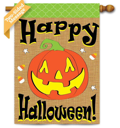 "Burlap Halloween House Flag - 29"" x 42"" - 2 Sided Message - Magnolia Lane"