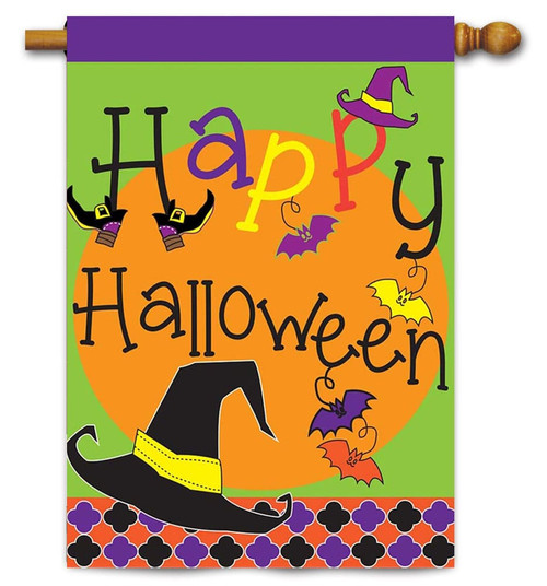 "Burlap Happy Halloween House Flag - 29"" x 42"" - 2 Sided Message - Magnolia Lane"