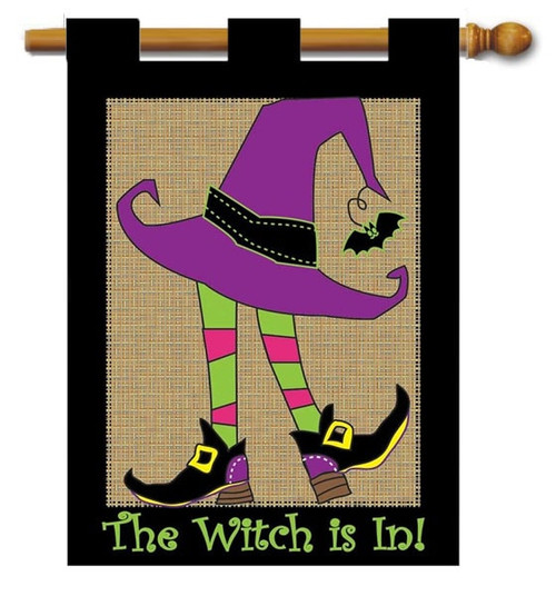 "Burlap Witch Halloween House Flag - 29"" x 42"" - 2 Sided Message - Magnolia Lane"