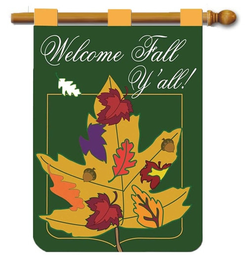 "Leaf Welcome Y'all Double Applique House Flag - 29"" x 42"" - 2 Sided Message - Magnolia Lane"