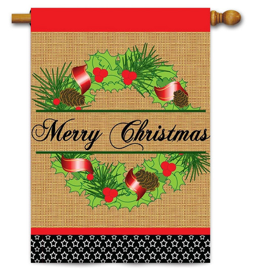 "Burlap Christmas Wreath House Flag - 29"" x 42"" - 2 Sided Message - Magnolia Lane"