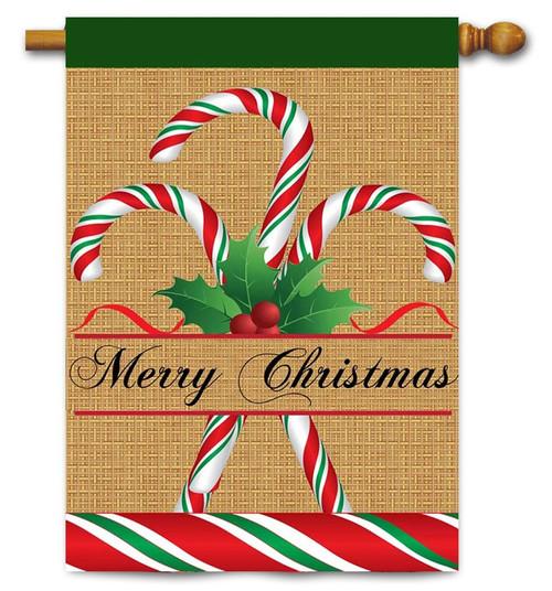 """Burlap Candy Cane Christmas House Flag - 29"""" x 42"""" - 2 Sided - Magnolia Lane"""