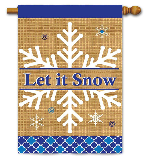 "Burlap Let It Snow Winter House Flag - 13"" x 18"" - 2 Sided Message - Magnolia Lane"