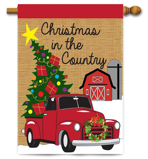 """Christmas in the Country Burlap House Flag - """"29"""" x 42"""" - 2 Sided Message - Magnolia Lane"""