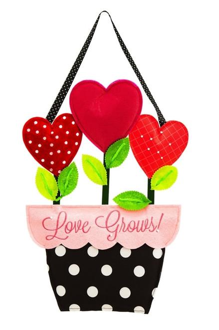 """Love Grows Valentine Door Decor - 20"""" x 13.5"""""""