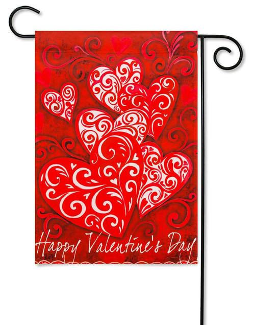 "Valentine Scroll Garden Flag - 12.5 ' x 18"" - Evergreen - 2 Sided Message"