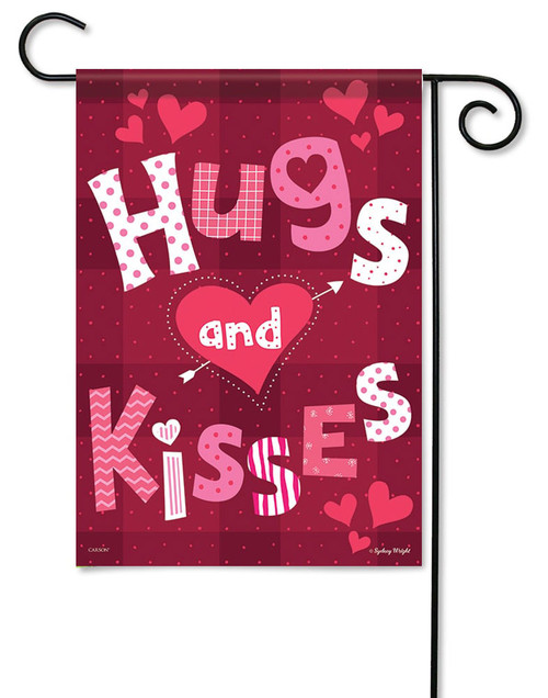 "Hugs and Kisses Valentine Garden Flag - 13"" x 18"" - Flag Trends - 2 Sided Message"
